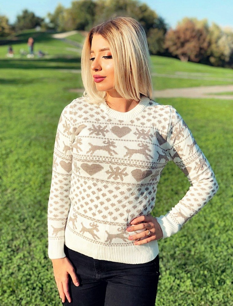Pulover dama ieftin din tricot crem cu imprimeu cu reni