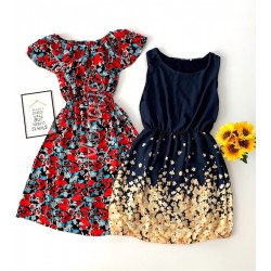OFERTA SOC! Doua rochii de vara rosie si bleumarin la doar 99 RON!