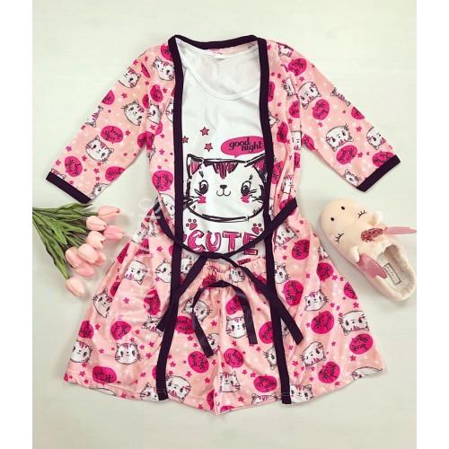 Set pijama dama 3 piese alcatuit din maieu + pantaloni scurti + halat roz cu imprimeu Cute Kitty