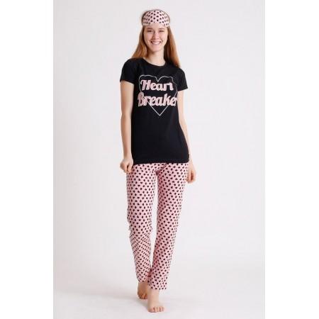 Pijama dama din bumbac ieftina lunga cu pantaloni lungi roz si tricou negru cu imprimeu Heart Breaker
