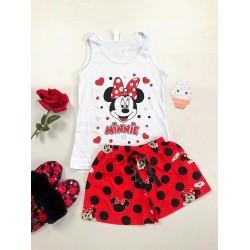 Pijama dama ieftina bumbac scurta cu pantaloni scurti rosii si maieu alb cu imprimeu MM cu text si inimioare
