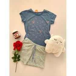 Pijama dama ieftina bumbac scurta cu pantaloni scurti gri  si tricou albastru cu imprimeu Floricele