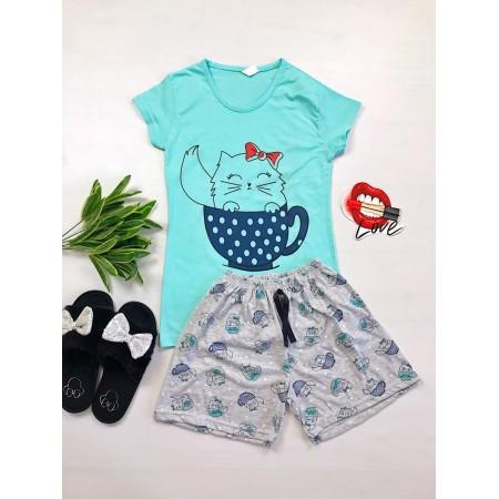 Pijama dama ieftina primavara-vara cu pantaloni scurti gri si tricou albastru cu imprimeu Cat in a Cup