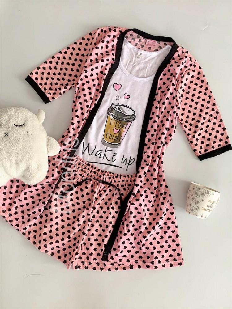 Set pijama dama 3 piese alcatuit din maieu + pantaloni scurti + halat roz cu imprimeu Wake Up Coffee