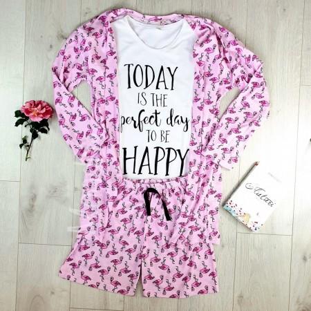 Set pijama dama 3 piese alcatuit din tricou + pantaloni scurti + halat roz cu imprimeu Perfect Day