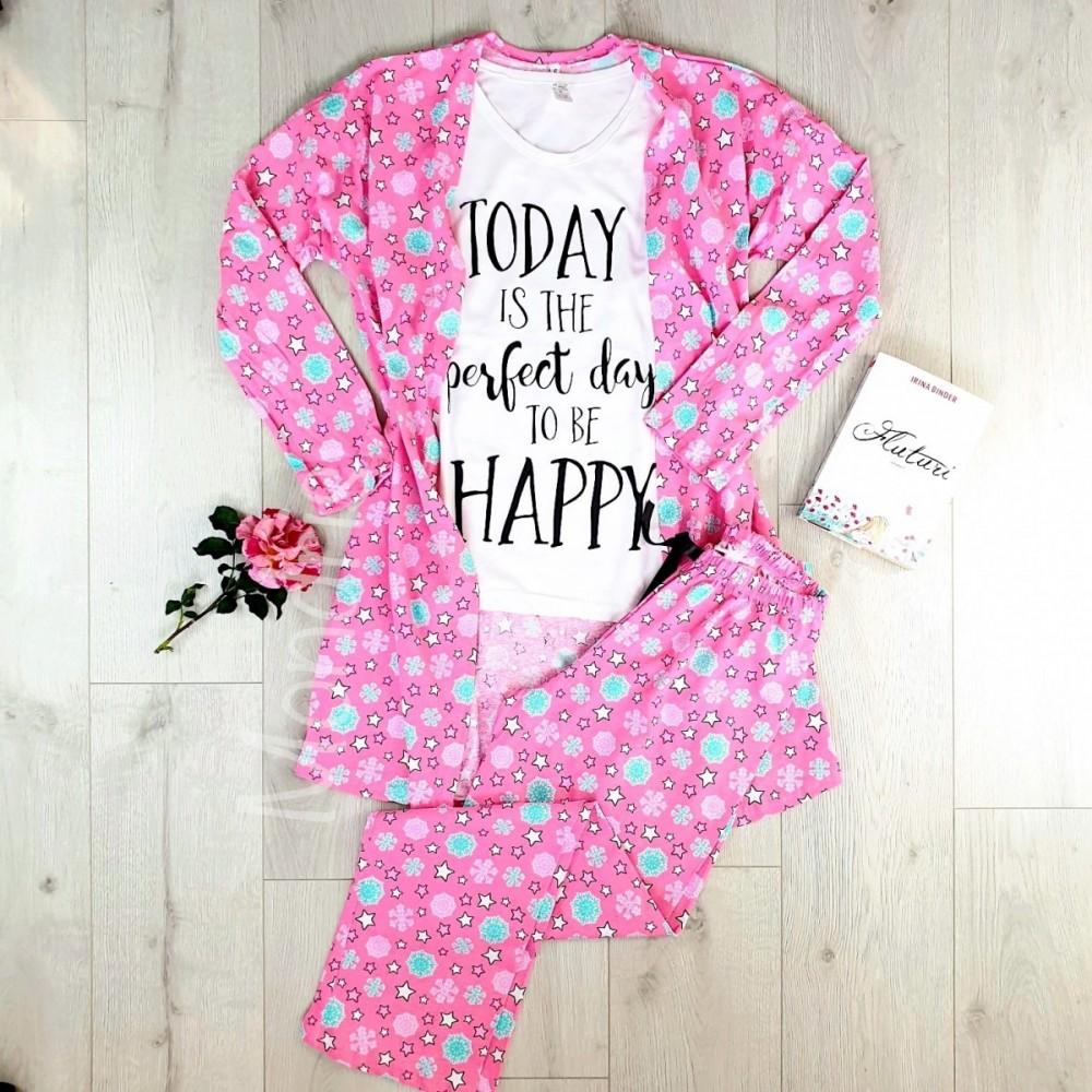 Set pijama dama 3 piese alcatuit din tricou + pantaloni lungi + halat roz cu imprimeu Perfect Day