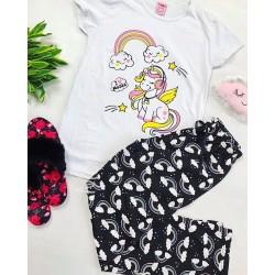Pijama dama ieftina bumbac lunga cu pantaloni lungi bleumarin si tricou alb cu imprimeu Unicorn Music