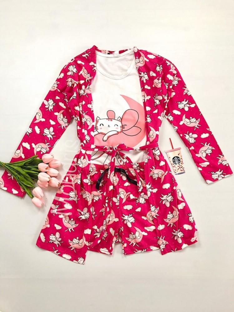 Set pijama dama 3 piese alcatuit din maieu + pantaloni scurti + halat roz inchis cu imprimeu Cute Cat