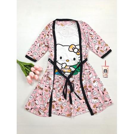 Set pijama dama 3 piese alcatuit din maieu + pantaloni scurti + halat roz cu imprimeu HK