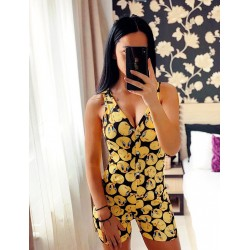 Pijama dama scurta tip salopeta galben cu negru fara maneci cu nasturi si imprimeu Tweety