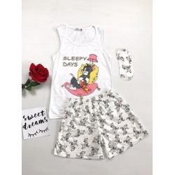Pijama dama ieftina bumbac scurta cu maieu alb si pantaloni scurti albi cu imprimeu Tom si Jerry