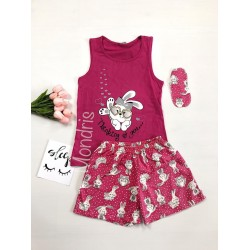 Pijama dama ieftina bumbac scurta cu pantaloni scurti roz si maieu roz cu imprimeu Thinking of you