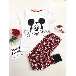 Pijama dama ieftina din bumbac lunga cu pantaloni lungi negri si tricou alb cu imprimeu Mickey Mouse cu palme