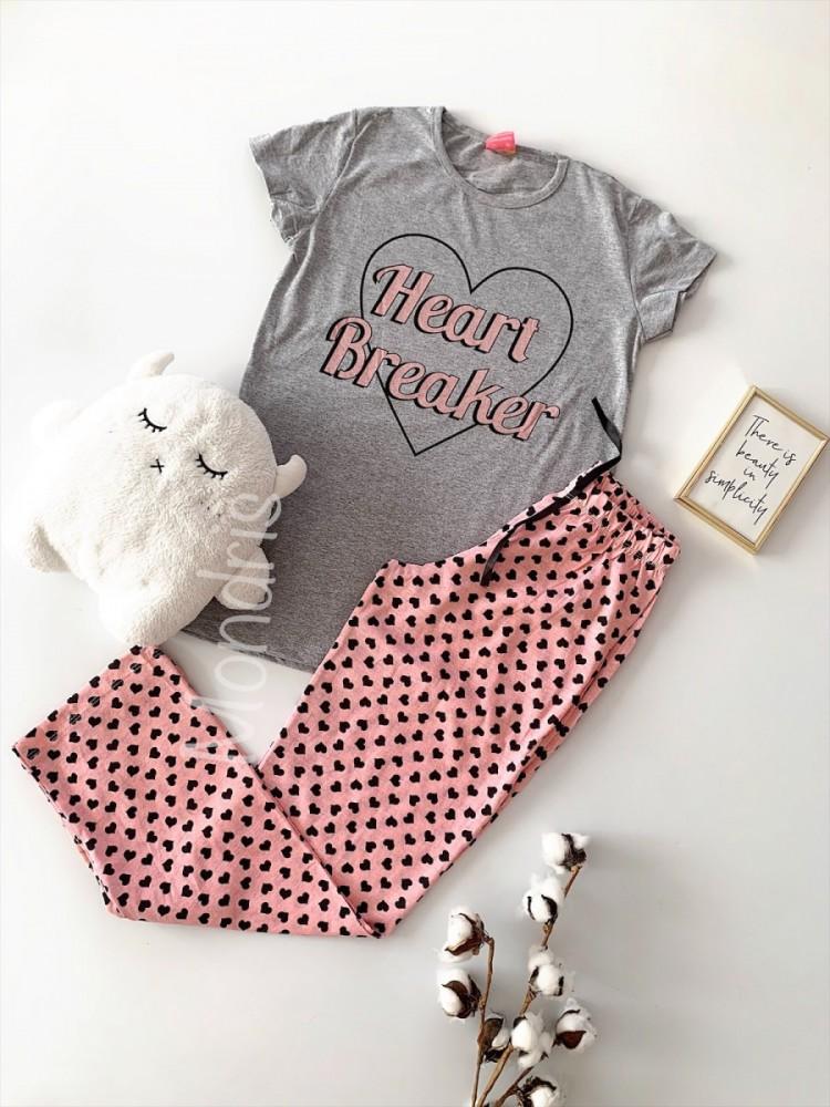 Pijama dama din bumbac ieftina lunga cu pantaloni lungi roz si tricou gri cu imprimeu Heart Breaker