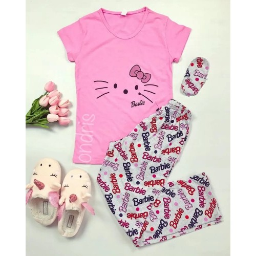 Pijama dama ieftina bumbac lunga cu tricou roz si pantaloni lungi gri cu imprimeu BR