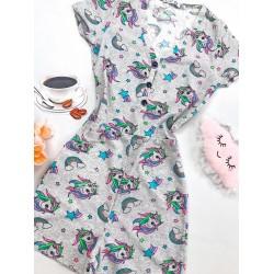 Pijama dama scurta tip salopeta gri cu nasturi si imprimeu Unicorn