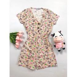 Pijama dama scurta tip salopeta portocalie cu nasturi si imprimeu Unicorni si Stelute