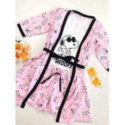 Set pijama dama 3 piese alcatuit din maieu + pantaloni scurti + halat roz cu imprimeu SY
