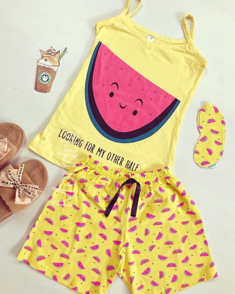 Pijama dama bumbac primavara-vara cu pantaloni scurti galbeni si maieu galben cu imprimeu Pepene
