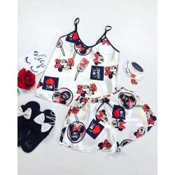 Pijama dama ieftina primavara-vara alba din satin lucios cu imprimeu MM