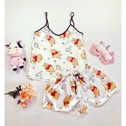 Pijama dama ieftina primavara-vara alba din satin lucios cu imprimeu WP