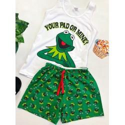 Pijama dama bumbac ieftina cu pantaloni scurti verzi si maieu alb cu imprimeu Broscuta Your Pad or Mine