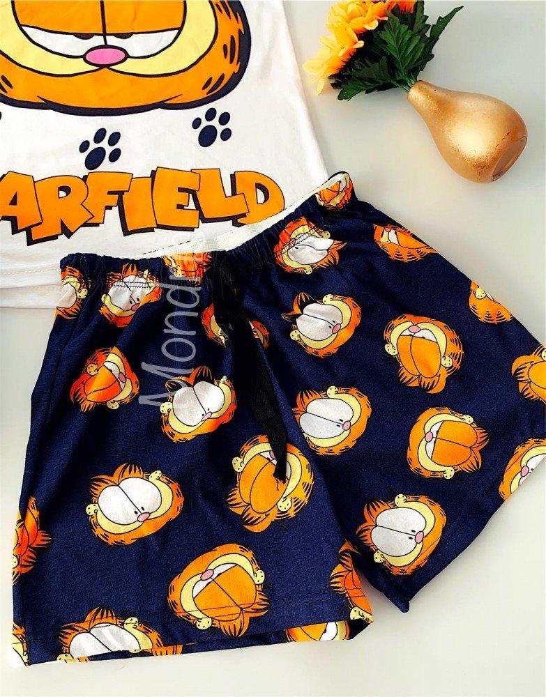 Pijama dama ieftina bumbac primavara vara cu maieu alb si pantaloni scurti bleumarin cu imprimeu GF