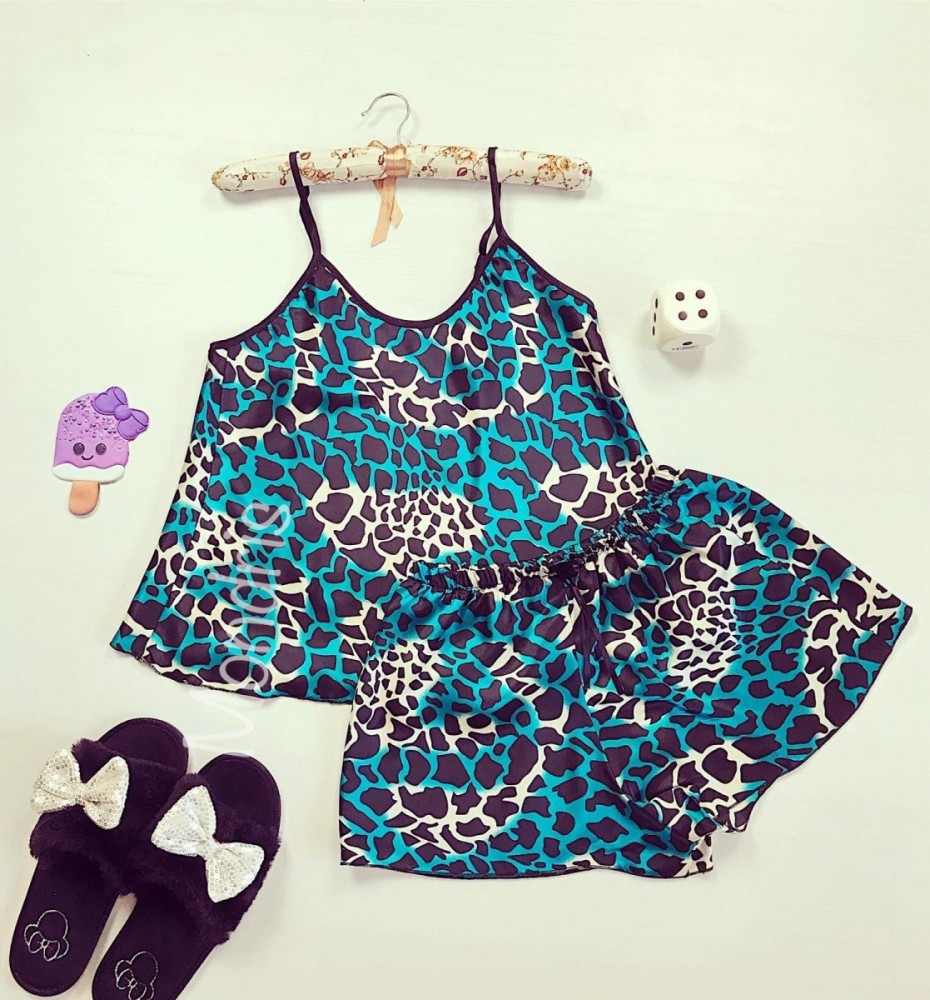 Pijama dama ieftina primavara-vara neagra cu albastru din satin lucios cu imprimeu animal print