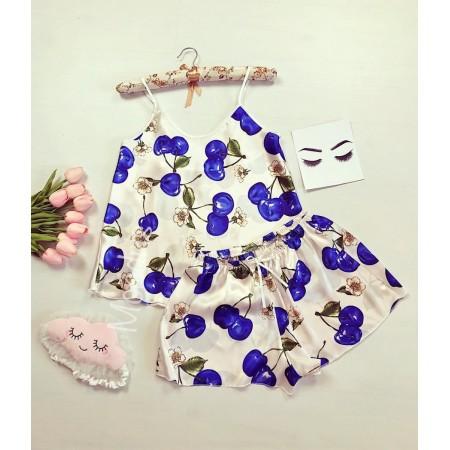 Pijama dama ieftina primavara-vara alb din satin lucios cu imprimeu cirese albastre