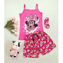 Pijama dama ieftina bumbac primavara vara cu maieu roz inchis si pantaloni scurti roz cu imprimeu MM & flori