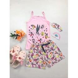 Pijama dama ieftina bumbac primavara vara cu maieu roz deschis si pantaloni scurti roz cu imprimeu BB & personaje