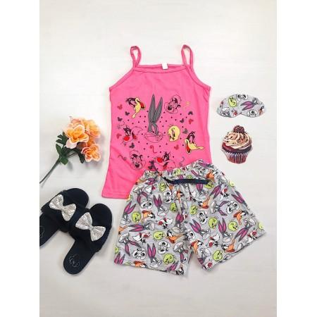 Pijama dama ieftina bumbac primavara vara cu maieu roz inchis si pantaloni scurti gri cu imprimeu BB & personaje