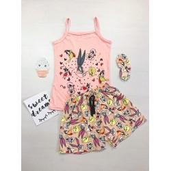 Pijama dama ieftina bumbac primavara vara cu maieu roz si pantaloni scurti crem cu imprimeu BB & personaje
