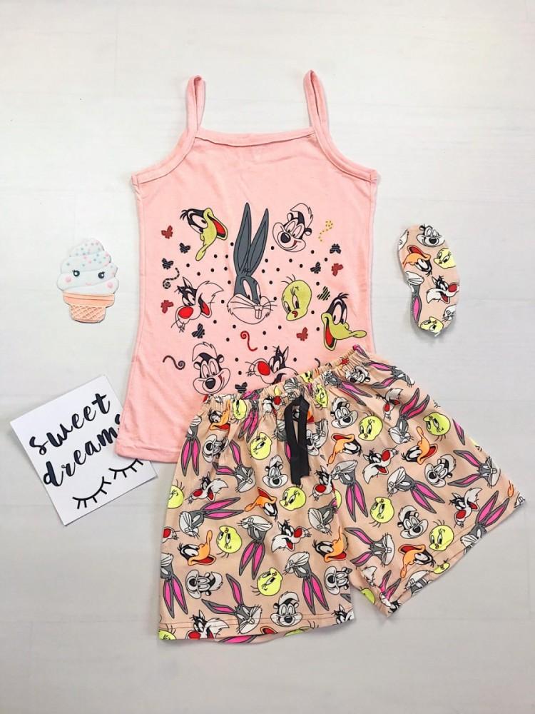 Pijama dama ieftina bumbac primavara vara cu maieu roz si pantaloni scurti roz cu imprimeu BB & personaje