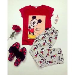Pijama dama ieftina bumbac lunga cu tricou rosu si pantaloni lungi gri cu imprimeu MK Photo