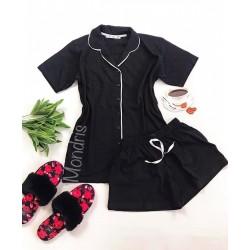 Pijama dama ieftina bumbac scurta cu pantaloni scurti si tricou negru cu nasturi