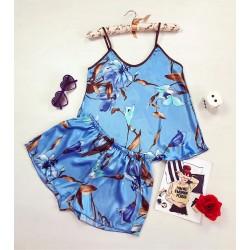 Pijama dama ieftina primavara-vara albastru deschis din satin lucios cu imprimeu floare