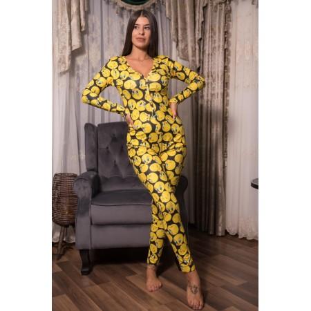 Pijama dama lunga tip salopeta galben cu negru cu nasturi si imprimeu TW