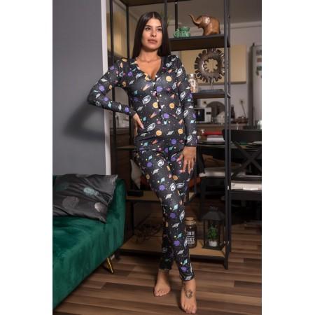 Pijama dama lunga tip salopeta neagra cu nasturi si imprimeu Space