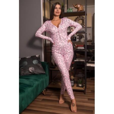 Pijama dama lunga tip salopeta roz cu nasturi si imprimeu HK