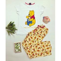 Pijama dama bumbac ieftina cu tricou alb si pantaloni galbeni cu imprimeu Yummy