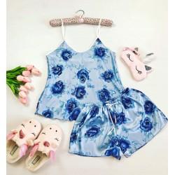 Pijama dama ieftina primavara-vara albastru deschis din satin lucios cu imprimeu Rose