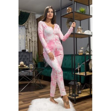 Pijama dama lunga tip salopeta roz cu nasturi si imprimeu Paint