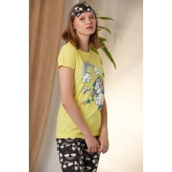 Pijama dama ieftina bumbac lunga cu pantaloni lungi bleumarin si tricou galben cu imprimeu Unicorn Music