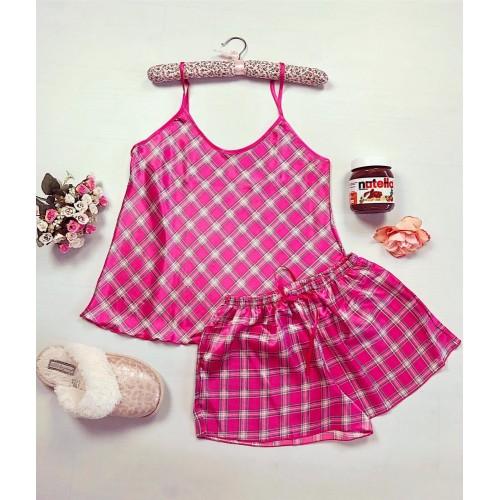 Pijama dama ieftina primavara-vara roz din satin lucios cu imprimeu carouri