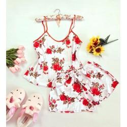 Pijama dama ieftina primavara-vara alba din satin lucios cu imprimeu trandafir rosu