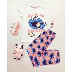 Pijama dama ieftina bumbac cu tricou alb si pantaloni lungi roz cu albastrucu imprimeu CM