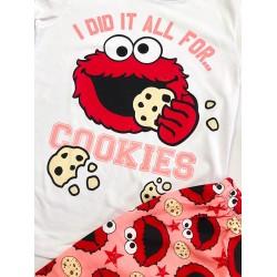Pijama dama ieftina bumbac cu tricou alb si pantaloni lungi roz cu rosu cu imprimeu CM rosu