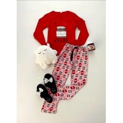 Pijama dama ieftina bumbac lunga cu pantaloni roz si bluza cu maneca lunga rosie cu imprimeu NTL