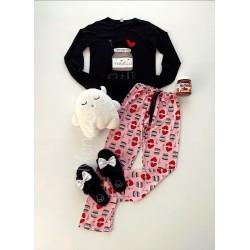 Pijama dama ieftina bumbac lunga cu pantaloni roz si bluza cu maneca lunga neagra cu imprimeu NTL